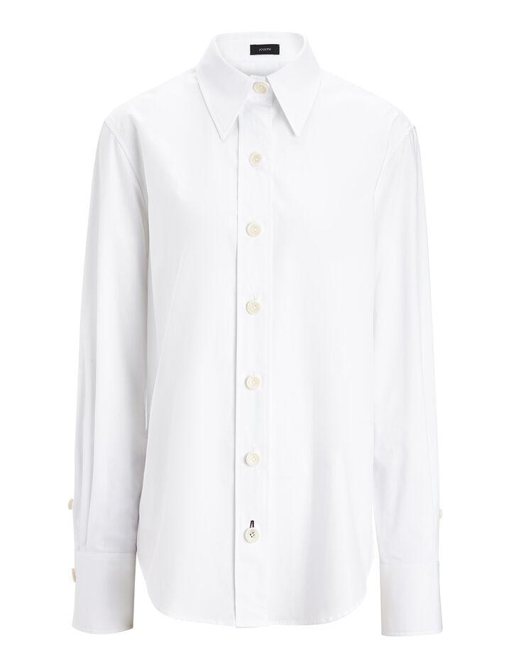 Cotton Poplin New Garcon Shirt, in WHITE, large | on Joseph