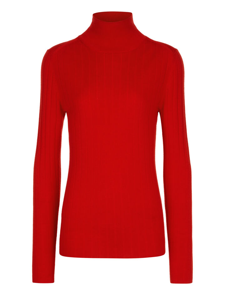 Joseph, Roll Neck Fine Merinos Rib Knit, in RED