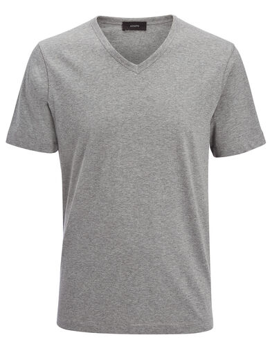 Tee shirt col V en jersey mercerisé, in GREY CHINE, large | on Joseph