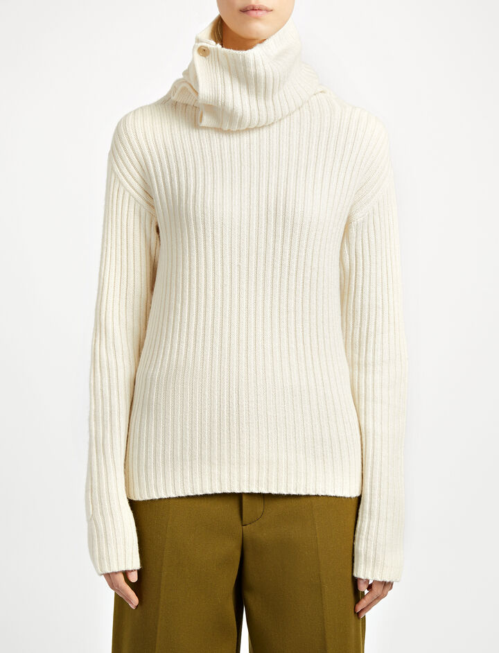Military Knit High Neck Sweater, in ECRU, large | on Joseph