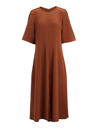 Viscose Cady Bekki Dress, in RUST, large | on Joseph