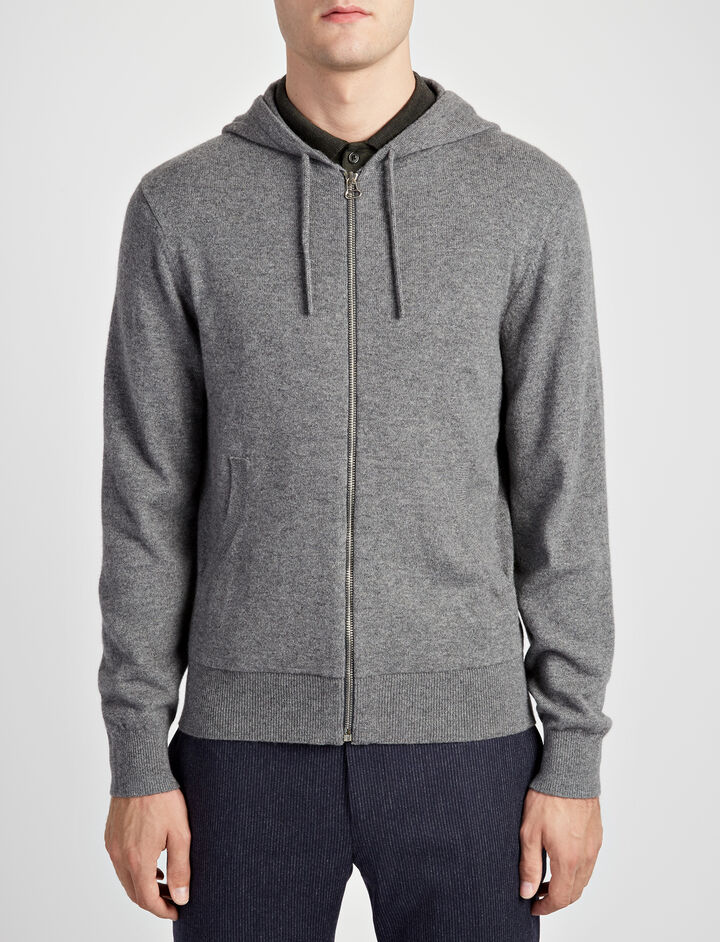 Mongolian Cashmere Hoody, in GRAPHITE, large | on Joseph