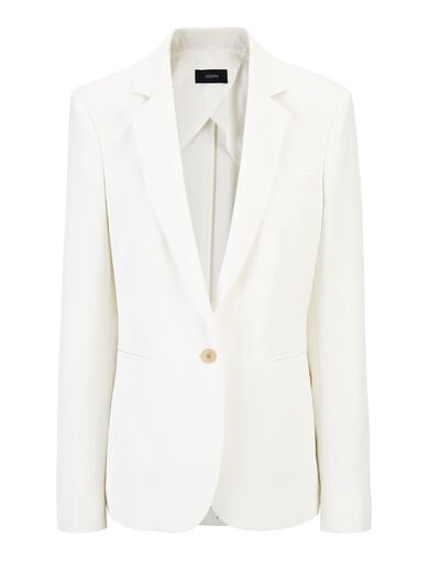 Slub Linen Stretch Lane Jacket, in OFF WHITE, large | on Joseph