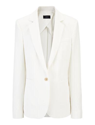 Slub Linen Stretch Lane Jacket, in OFF WHITE, large | on Joseph