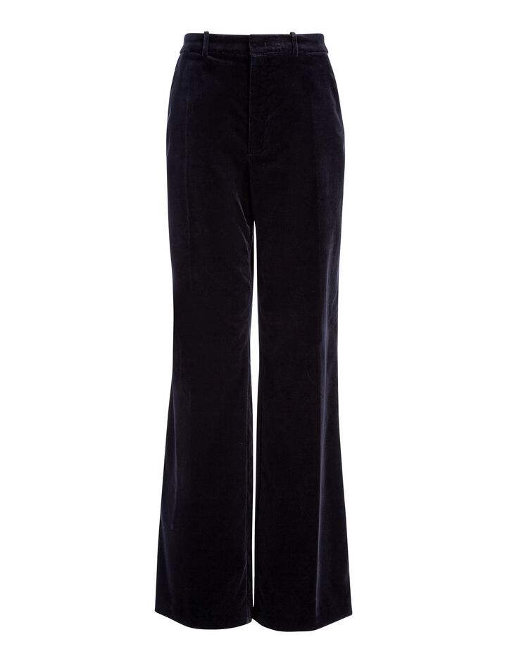 Velvet Stretch Fergus Trousers, in NAVY, large | on Joseph