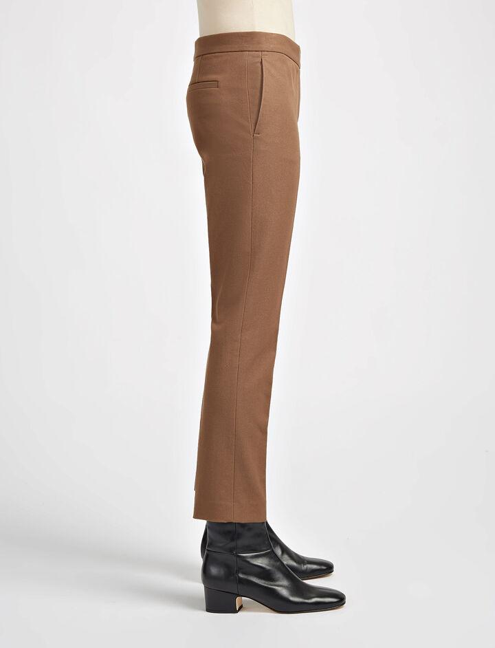 Pantalon Finley en gabardine stretch, in DARK FAWN, large   on Joseph