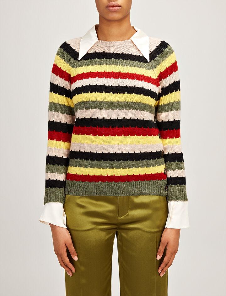 Multocolour Stripe Intarsia Sweater, in , large | on Joseph