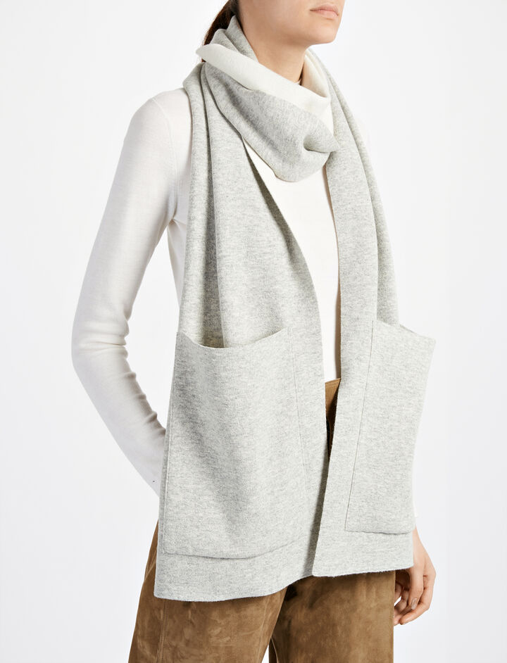 Bonded Wool Cashmere Pocket Scarf, in GREY CHINE, large | on Joseph