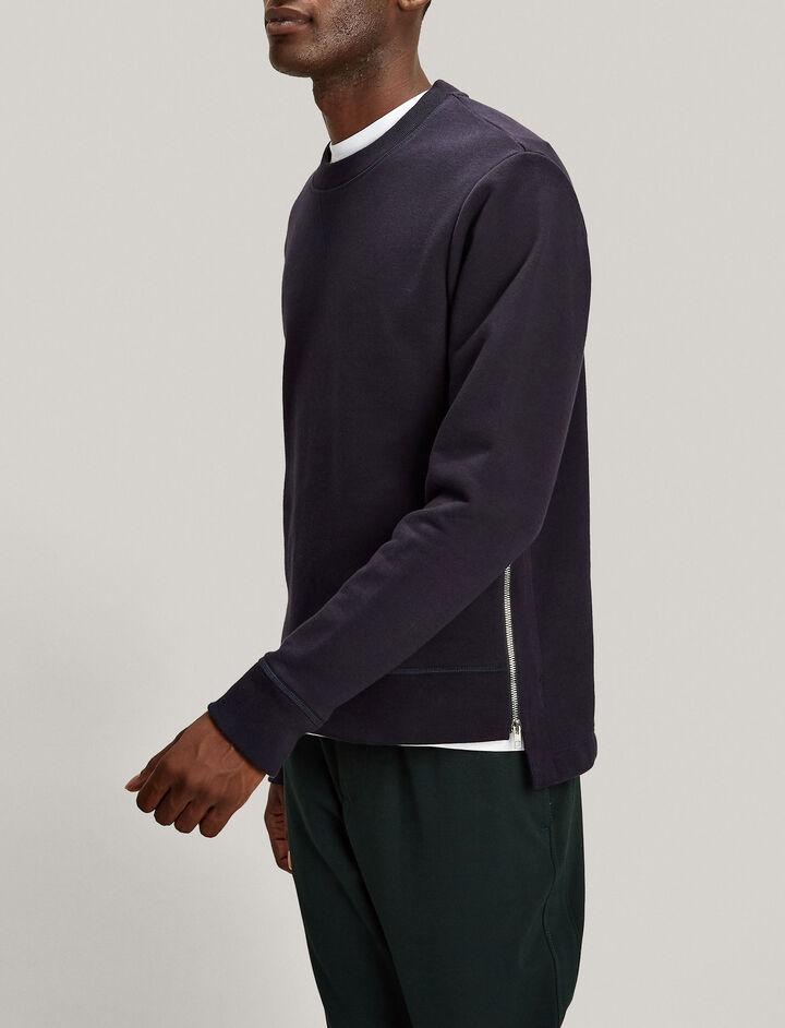 Joseph, Zip Jersey Sweatshirt, in NAVY