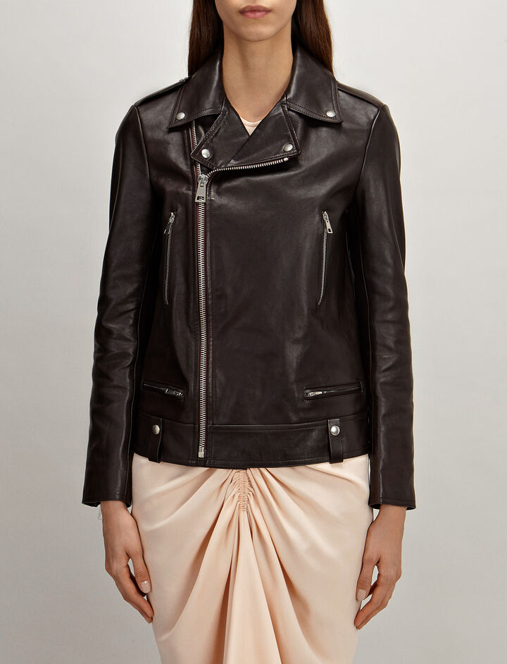 Ryder Leather Biker Jacket, in MORGON, large | on Joseph