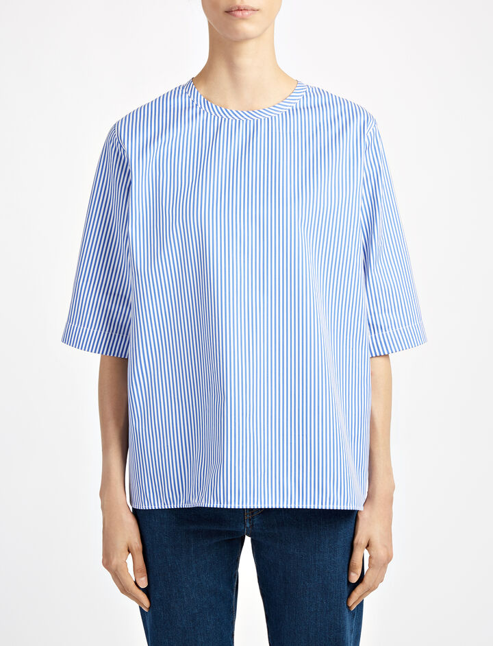 Stripe Forever Finn Blouse, in BLUE/WHITE, large | on Joseph