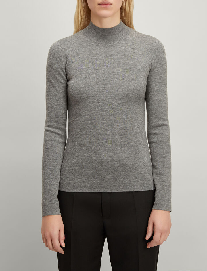 Superfine Merinos High Neck Sweater, in GREY CHINE, large | on Joseph