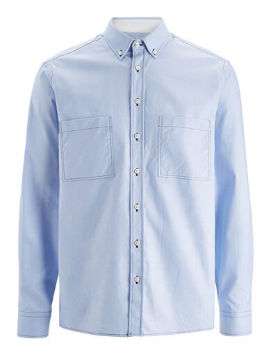 Oxford Shirting Coates Shirt, in SKY BLUE, large | on Joseph