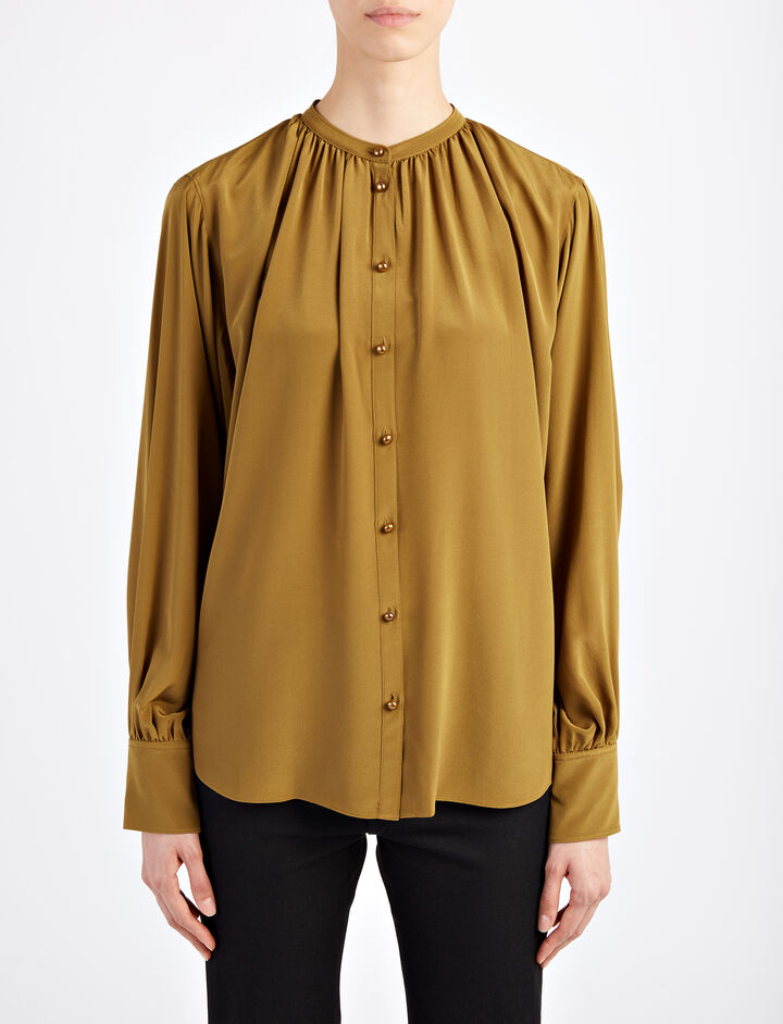 Crepe de Chine Everett Blouse, in OLIVE, large | on Joseph