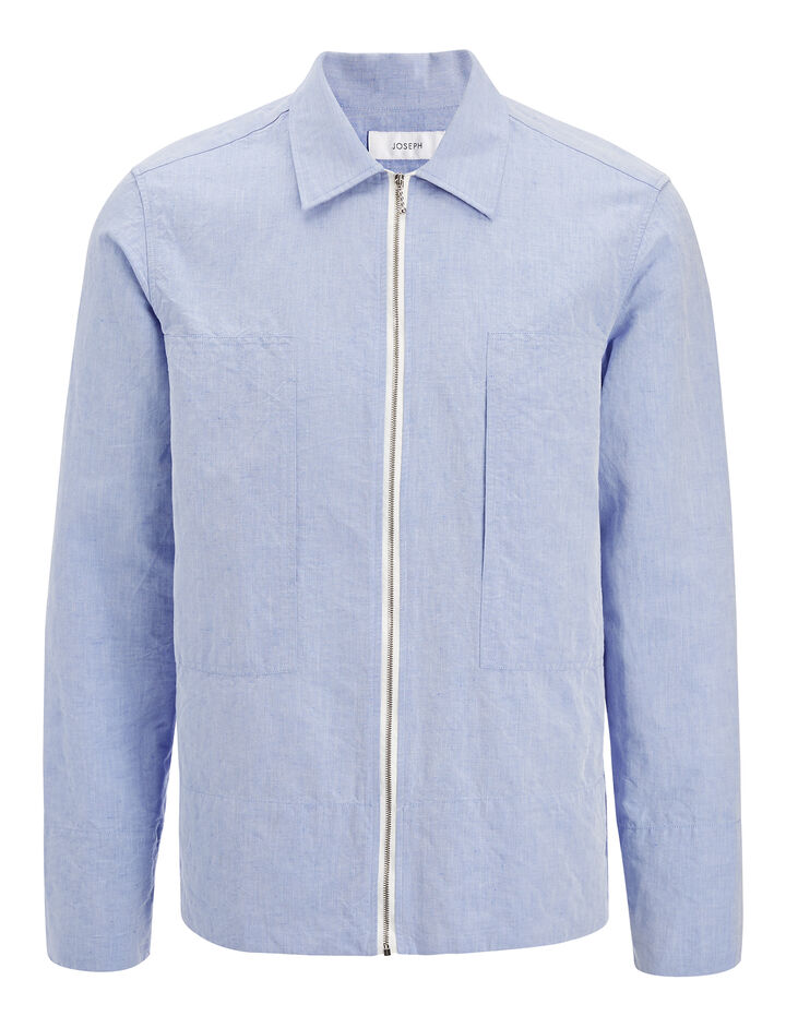 Linen Chambray Falkland Shirt, in SKY BLUE, large | on Joseph