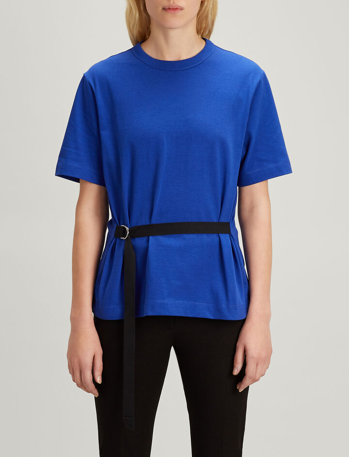Loopback Jersey Tie Sweatshirt, in COBALT BLUE, large | on Joseph