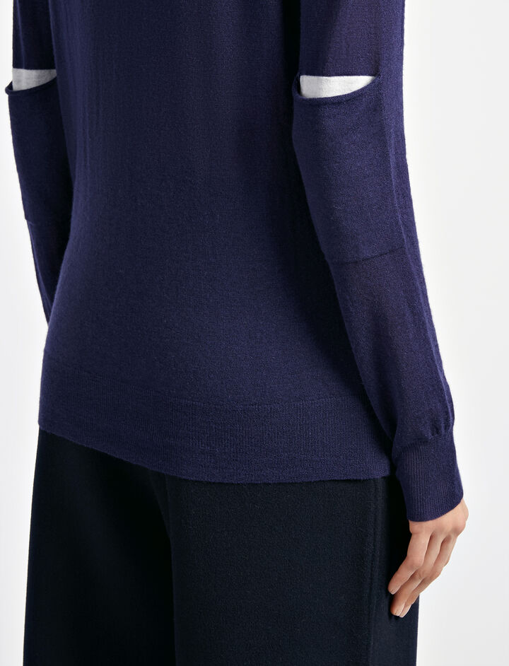 Cashair and Patch Sweater, in INK, large | on Joseph