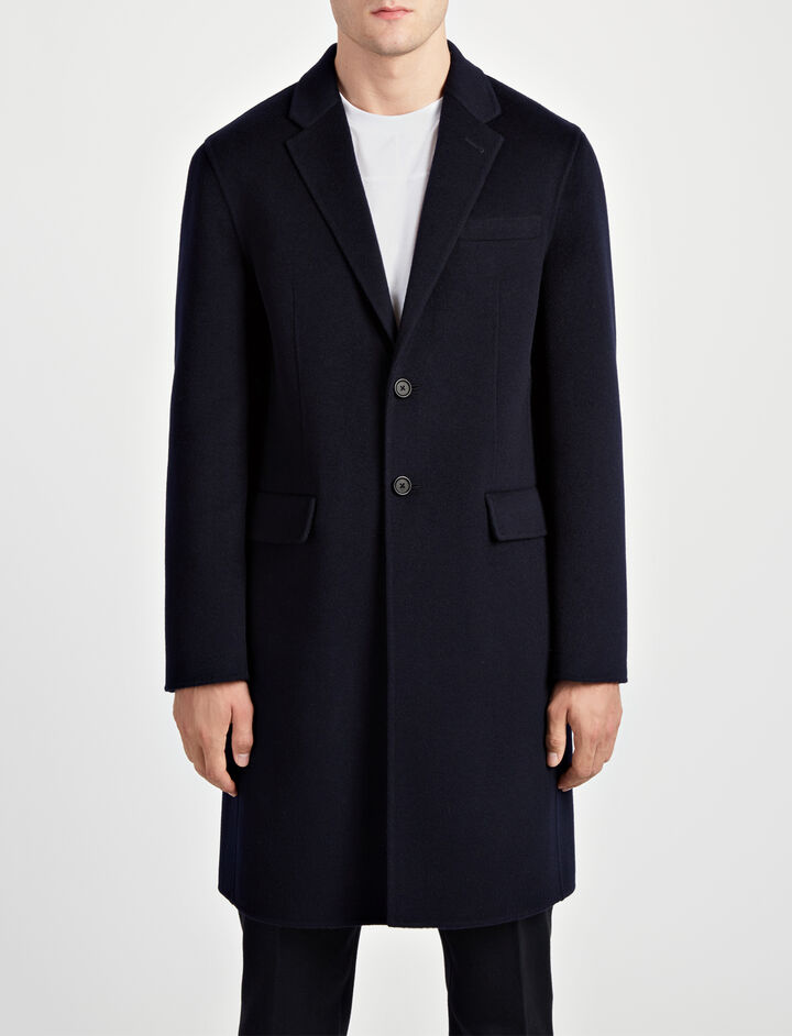 Double Face Cashmere Caversham Coat, in NAVY, large | on Joseph