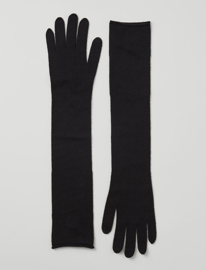 Mongolian Cashmere Gloves, in BLACK, large | on Joseph