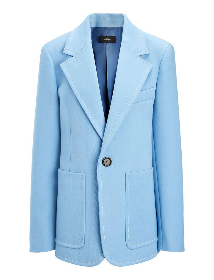Cotton Wool Twill Annab Jacket, in CIEL, large | on Joseph