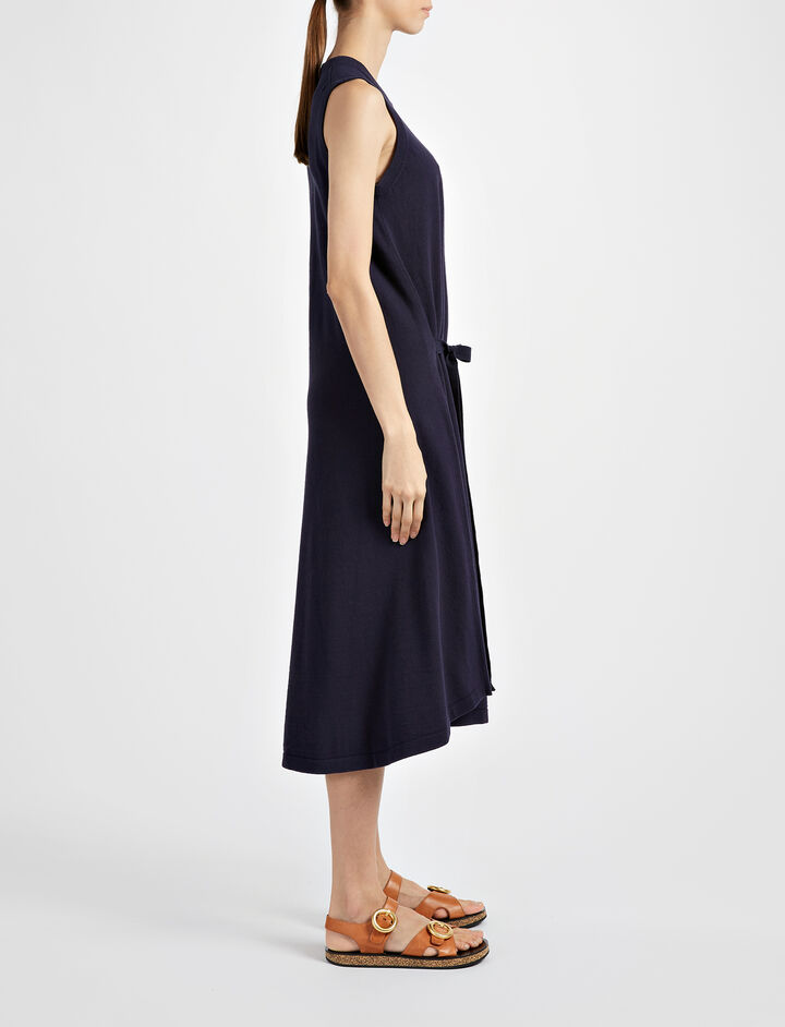 Calico Knit April Dress, in NAVY, large | on Joseph