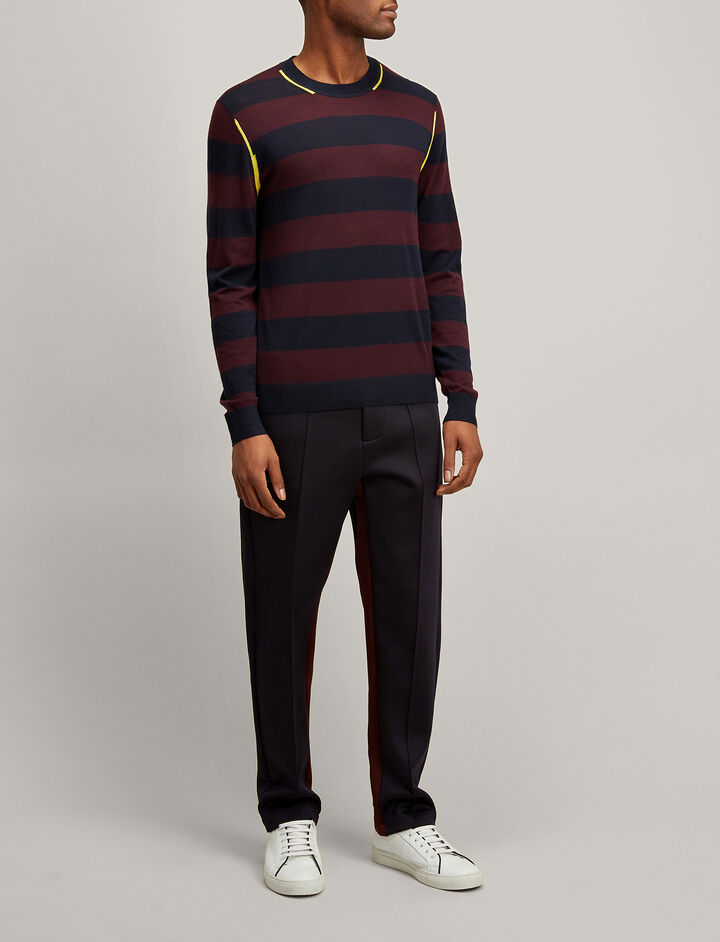 Joseph, Light Stripe Sweater, in NAVY/MORGON