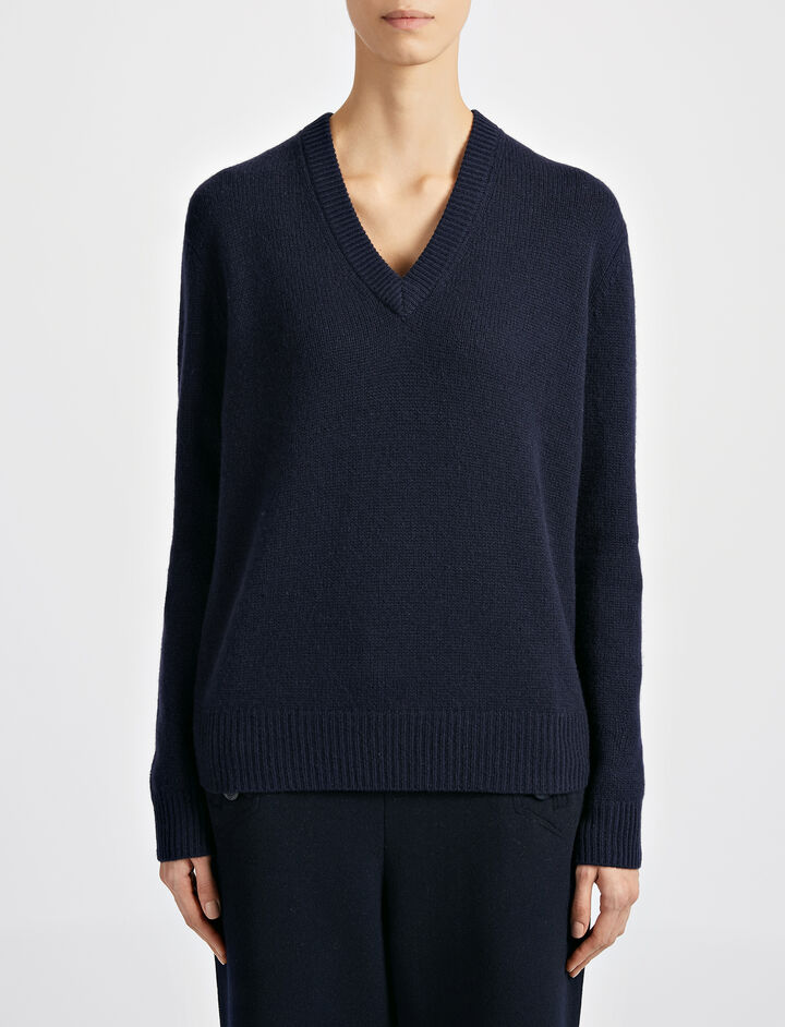 Open Cashmere V Neck Top, in NAVY, large | on Joseph
