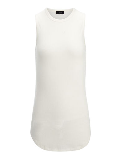 Cotton Cashmere Rib Tank, in ECRU, large | on Joseph