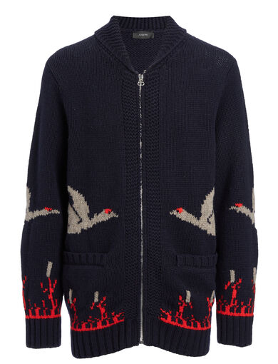 Chunky Intarsia Zip Cardigan, in NAVY, large | on Joseph