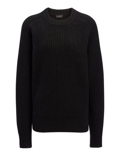Cashmere Luxe Purl Sweater, in BLACK, large   on Joseph