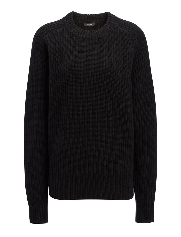 Cashmere Luxe Purl Sweater, in BLACK, large | on Joseph