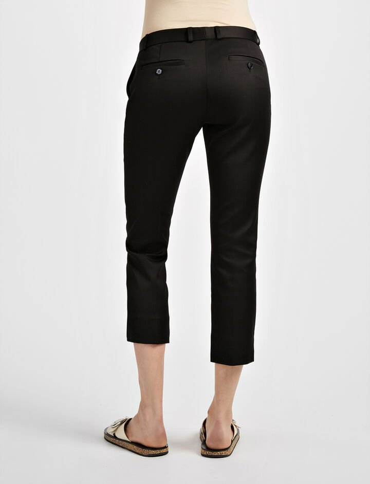 Compact Cotton Bing Court Trouser, in BLACK, large | on Joseph