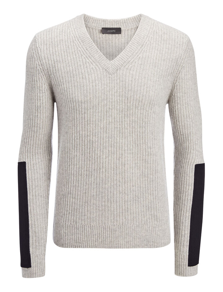Military Cashmere V Neck Sweater, in GREY CHINE, large | on Joseph