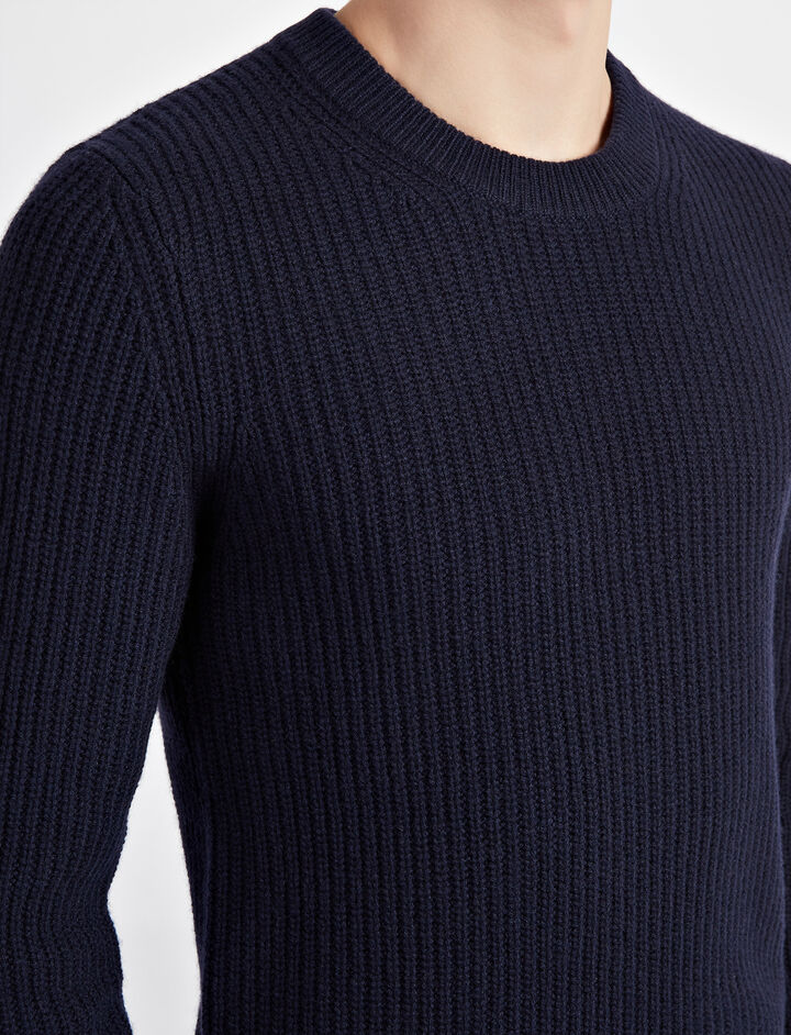 Military Cashmere Sweater, in NAVY, large | on Joseph