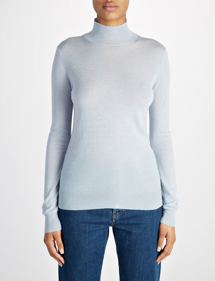 Cashair High Neck Sweater, in POWDER BLUE, large | on Joseph