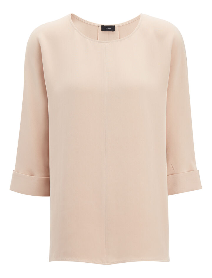 Matt Silk Malo Blouse, in FONDANT, large | on Joseph