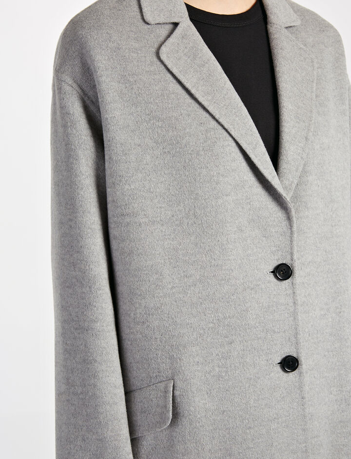 Manteau court Sido en double cachemire léger, in GREY CHINE, large | on Joseph