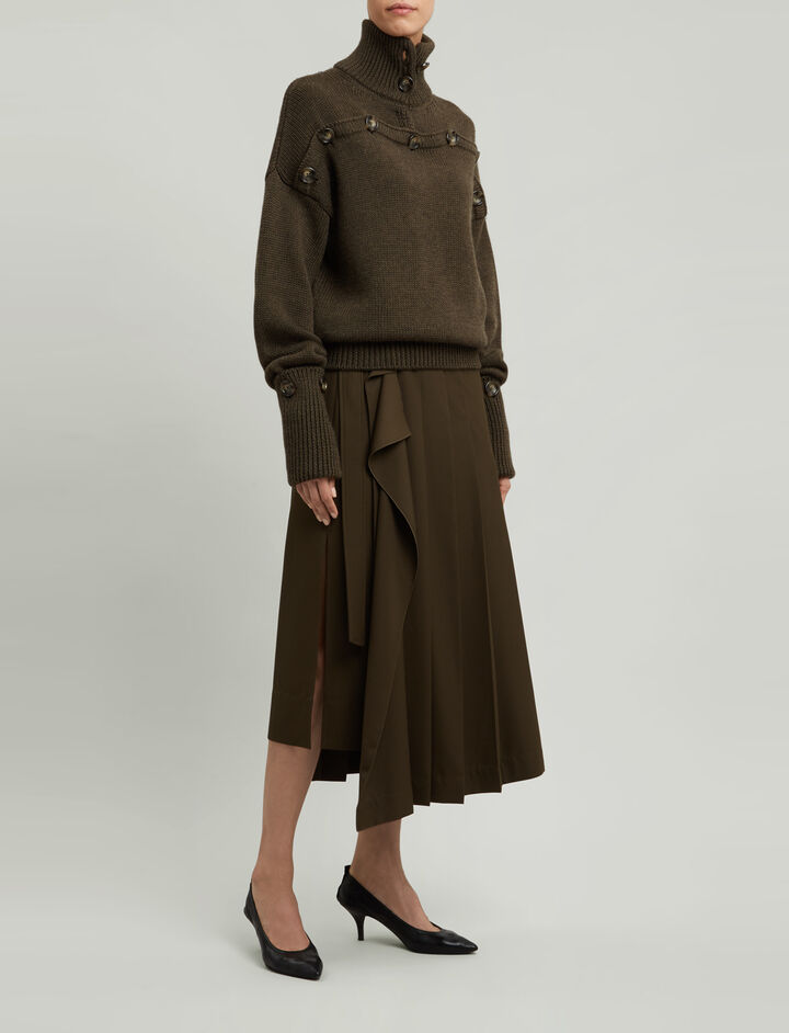 Joseph, Fleet Fluid Wool Skirt, in FATIGUE