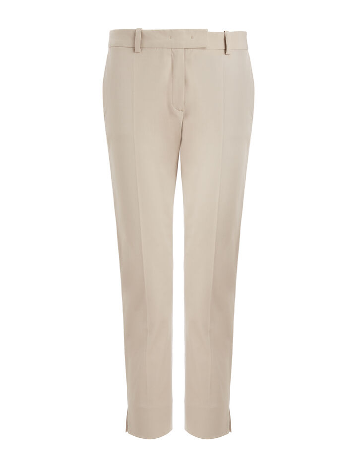Joseph, Polished Cotton Stretch Bing Court Trousers, in ECRU