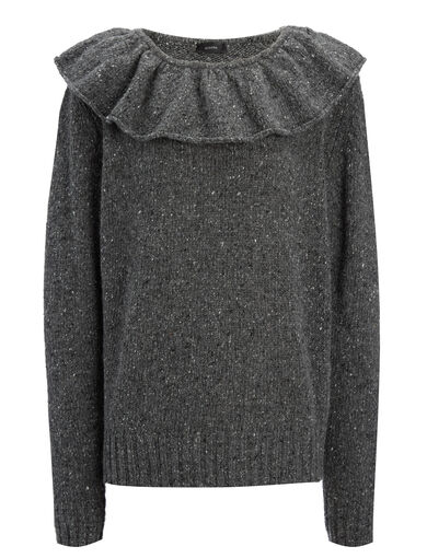 Shetland Knit Frill Sweater, in CHARCOAL, large | on Joseph