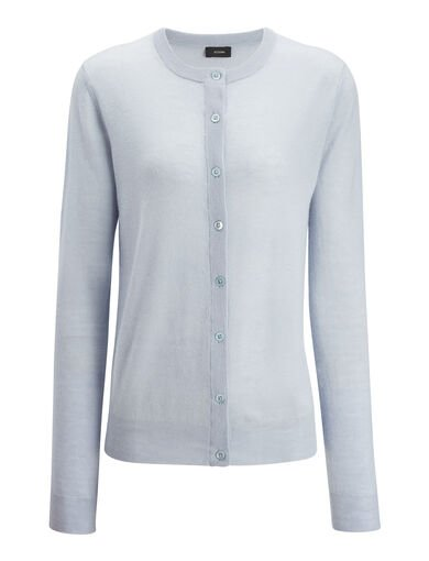 Cashair Cardigan, in POWDER BLUE, large | on Joseph