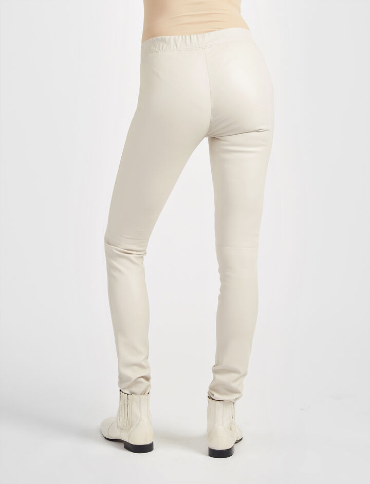 Legging en cuir stretch, in STONE, large | on Joseph