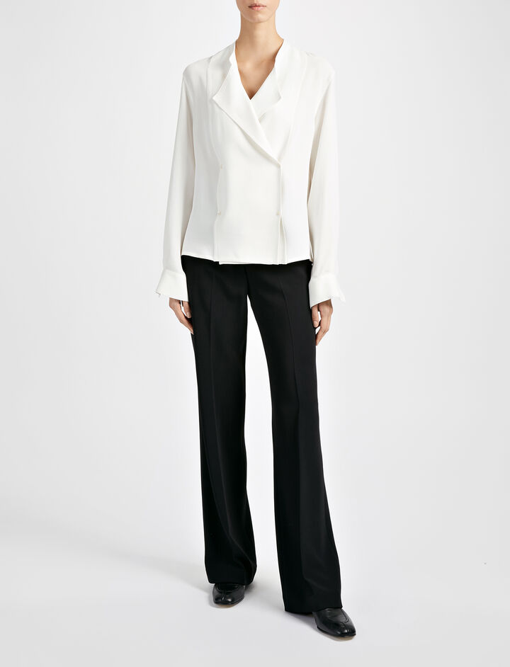 Matt Silk Jerry Blouse, in OFF WHITE, large | on Joseph