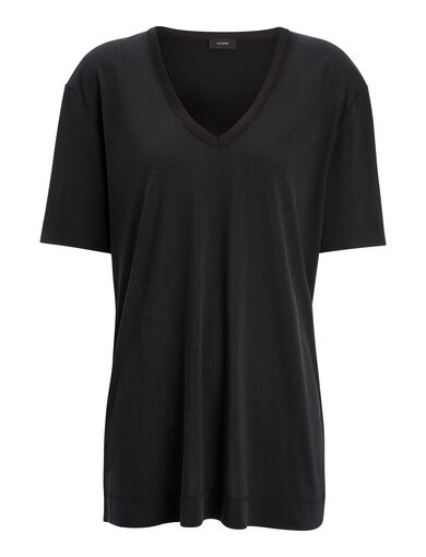 Silk Jersey V Neck Top, in BLACK, large | on Joseph