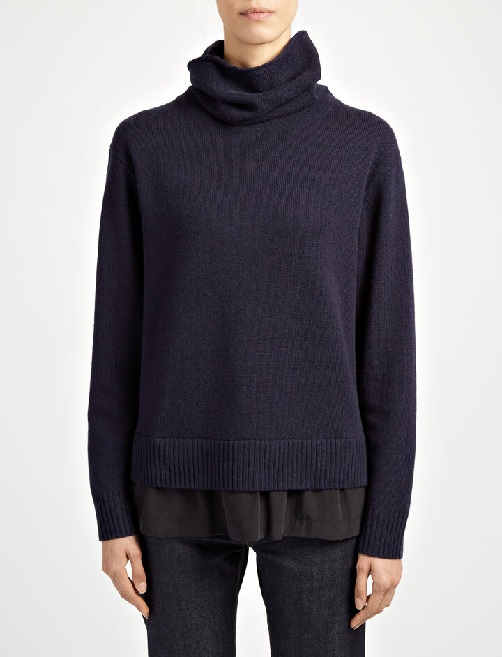Wool Cashmere + Crepe de Chine High Neck Knit, in NAVY, large | on Joseph