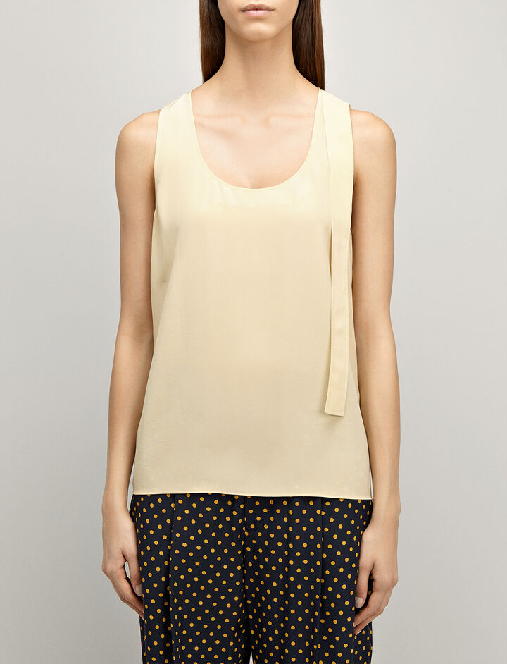 Crepe de Chine Tye Blouse, in CUSTARD, large | on Joseph