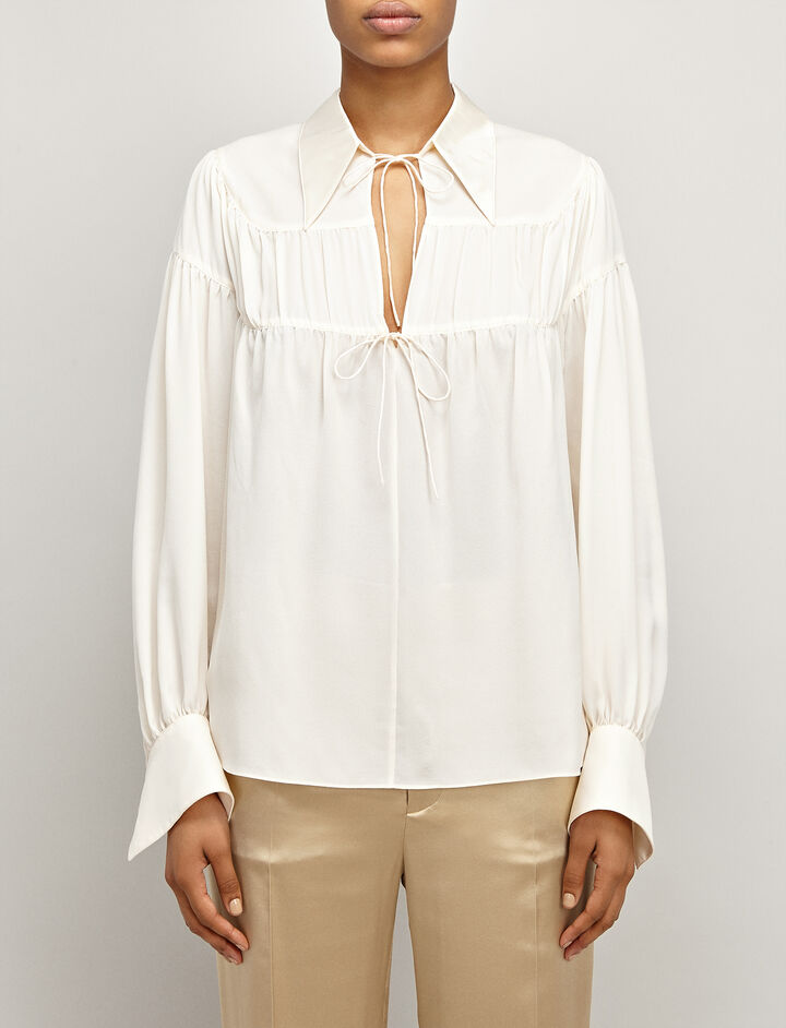 Silk Georgette Crosby Blouse, in ECRU, large | on Joseph