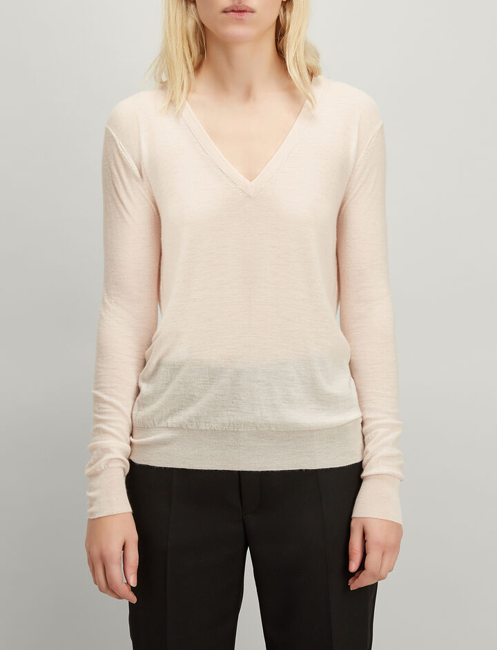 Cashair V Neck Sweater, in PEARL, large | on Joseph