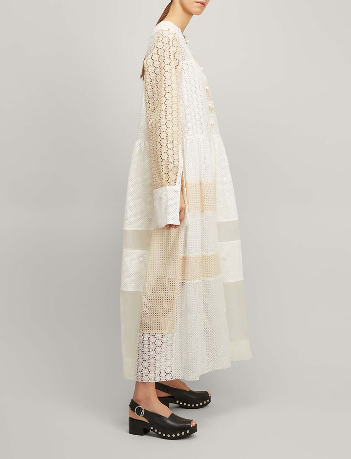 Joseph, Patchwork Embroidery Odette Dress, in ECRU