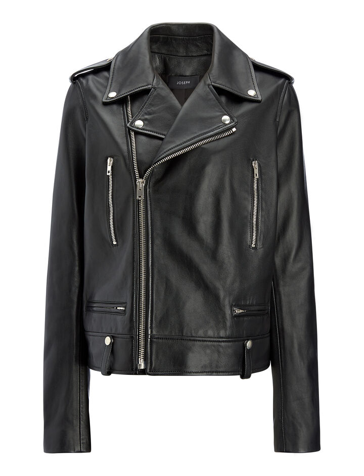 Biker Leather Ryder Jacket, in BLACK, large | on Joseph